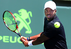 March 22, 2018 - Key Biscayne, Florida, USA - Donald Young of the United States returns against Leonardo Mayer of Argentina during the first round of the Miami Open in Key Biscayne, Fla., on Thursday, March 22, 2018. (Credit Image: © Pedro Portal/TNS via ZUMA Wire)
