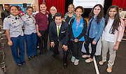 Houston ISD Superintendent Richard Carranza poses for photograph with Furr High School students during a stop of the Listen & Learn tour at Marshall Elementary School, September 20, 2016.