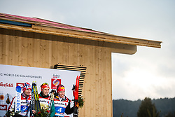 February 22, 2019 - Seefeld In Tirol, AUSTRIA - 190222 Silver medalist Jan Schmid of Norway, gold medalist Eric Frenzel of Germany and bronze medalist Franz-Josef Rehrl of Austria celebrate at the podium after competing in men's nordic combined 10 km Individual Gundersen during the FIS Nordic World Ski Championships on February 22, 2019 in Seefeld in Tirol..Photo: Joel Marklund / BILDBYRÃ…N / kod JM / 87882 (Credit Image: © Joel Marklund/Bildbyran via ZUMA Press)
