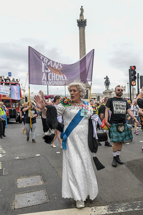 London, UK. 6 July, 2019. Thousands attends to watchs the parade of the Pride in London.