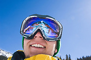 Colorado State University student Andrew Carlson smiles while skiing at Arapahoe Basin Ski Area, Colorado while on a Seasonal Snow Environments class field trip.