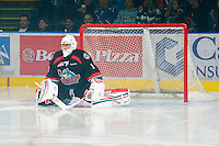 KELOWNA, CANADA, OCTOBER 1: Adam Brown #1 of the Kelowna Rockets skates against the Vancouver Giants on October 1, 2011 at Prospera Place in Kelowna, British Columbia, Canada (Photo by Marissa Baecker/Getty Images) *** Local Caption ***