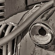 Tube And Rusted Headlight - Motor Transport Museum - Campo, CA - Sepia Black & White