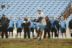 CHAPEL HILL, NC - FEBRUARY 23: William Perry #3 of the North Carolina Tar Heels during a game against the Johns Hopkins Blue Jays on February 23, 2019 at Kenan Stadium in Chapel Hill, North Carolina. Hopkins won 11-10. (Photo by Peyton Williams/US Lacrosse)