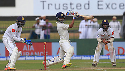 August 3, 2017 - Colombo, Sri Lanka - Indian cricketer Ajinkya Rahane(M) plays a shot during the 1st Day's play in the 2nd Test match between Sri Lanka and India at the SSC international cricket stadium at the capital city of Colombo, Sri Lanka on Thursday 03 August 2017. (Credit Image: © Tharaka Basnayaka/NurPhoto via ZUMA Press)