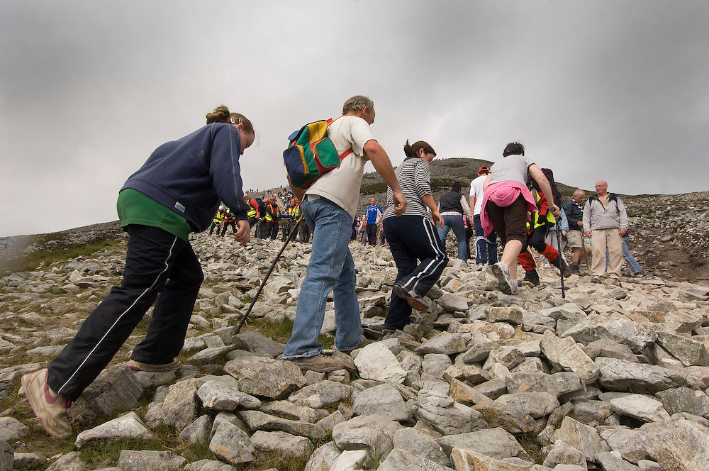 Thousands of Pilgrims make their way up the shoulder of Irelands Holy Mountain, Croagh  Patrick. Co. Mayo. Pic: Michael Mc Laughlin Thousands of Pilgrims make their way up and down Croagh Patrick, Irelands Holy Mountain on the annual the pilgrimage day which fall on the second weekend of July, Murrisk Co. Mayo. Pic: Michael Mc Laughlin Thousands of Pilgrims make their way up and down Croagh Patrick, Irelands Holy Mountain on the annual the pilgrimage day which fall on the second weekend of July, Murrisk Co. Mayo. Pic: Michael Mc Laughlin