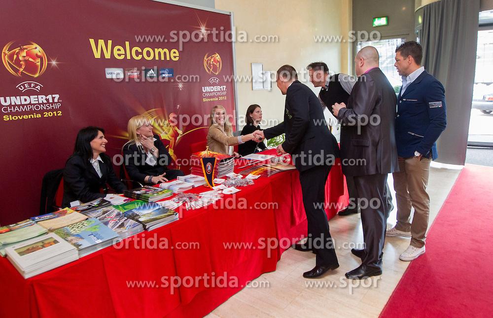 Welcome desk at Final Round Draw of 11th UEFA European Under-17 Championship 2011/12, on April 4, 2012, in Ljubljana, Slovenia. (Photo by Vid Ponikvar / Sportida.com)