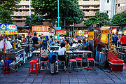 Early evening at Ningxia night market. The market, located in the Datong area of Taipei is popular with locals and tourists for its authentic street food.
