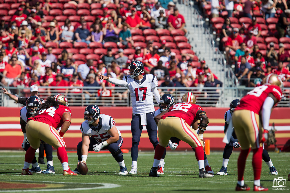 Houston Texans quarterback Brock Osweiler (17) directs his team against the San Francisco 49ers at Levi's Stadium in Santa Clara, Calif., on August 14, 2016. (Stan Olszewski/Special to S.F. Examiner)