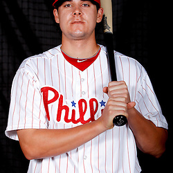 February 22, 2011; Clearwater, FL, USA; Philadelphia Phillies infielder Jeff Larish (65) poses during photo day at Bright House Networks Field. Mandatory Credit: Derick E. Hingle