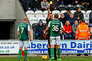 Ryan Porteous of Hibernian FC recieves a caution for one to many fouls during the Ladbrokes Scottish Premiership match between St Mirren and Hibernian at the Simple Digital Arena, Paisley, Scotland on 29th September 2018.