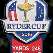 Ryder Cup 2016. Day One. A Ryder Cup information sign on the thirteenth hole during the Ryder Cup competition at the Hazeltine National Golf Club on September 30, 2016 in Chaska, Minnesota.  (Photo by Tim Clayton/Corbis via Getty Images)