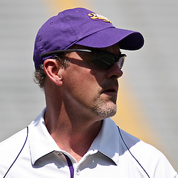 April 9, 2011; Baton Rouge, LA, USA;  LSU Tigers offensive coordinator Steve Kragthorpe during the 2011 Spring Game at Tiger Stadium.   Mandatory Credit: Derick E. Hingle