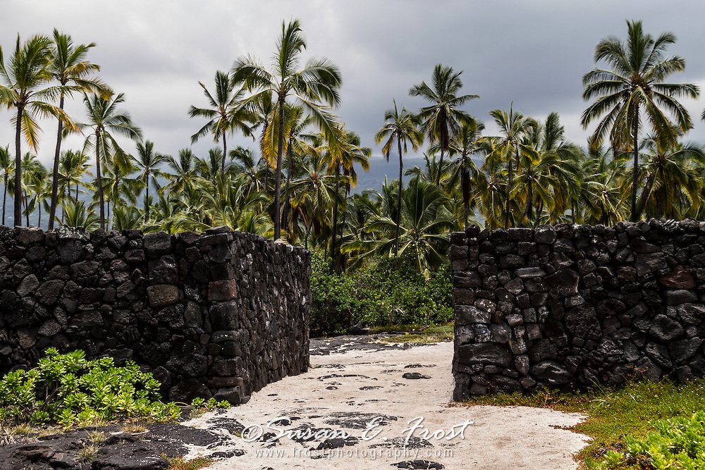 Stone wall at place of refuge, Big Island Hawaii.