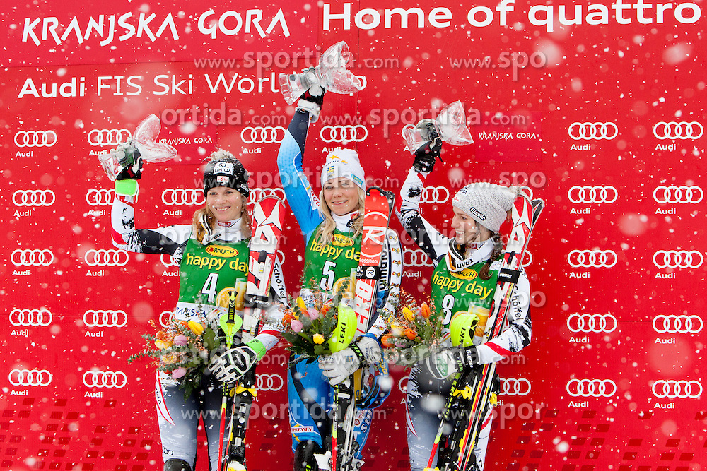 SCHILD Marlies of Austria, HANSDOTTER Frida of Sweden and SCHILD Bernadette of Austria during flover ceremony of 50th Golden Fox Audi Alpine FIS Ski World Cup Ladies Slalom, on February 2, 2014 in Podkoren, Kranjska Gora, Slovenia. (Photo By Urban Urbanc / Sportida.com)