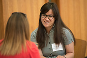 Jamuna Maharjan talks with her mentor during the Women's Mentoring Meet and Greet event on Sept. 4, 2018 in Walter Rotunda. Photo by Hannah Ruhoff