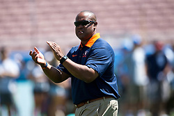 PASADENA, CA - SEPTEMBER 05:  Virginia Cavaliers head coach Mike London watches his team during warmups before the game against the UCLA Bruins at the Rose Bowl on September 5, 2015 in Pasadena, California. The UCLA Bruins defeated the Virginia Cavaliers 34-16. (Photo by Jason O. Watson/Getty Images) *** Local Caption *** Mike London