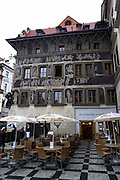 The Minute House, former home of Franz Kafka in the Old Town Square in Prague, Czech Republic.This Renaissance-era house has black and white designs covering the facade was the boyhood home of Kafka.