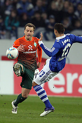 13.12.2011, Arena auf Schalke, Gelsenkirchen, GER, 1.FBL, Schalke 04 vs Werder Bremen, im BildPhilipp Bargfrede (Bremen #44) gegen Jermaine Jones (Schalke #13) // during the 1.FBL, Schalke 04 vs Werder Bremen on 2011/12/17, Arena auf Schalke, Gelsenkirchen, Germany. EXPA Pictures © 2011, PhotoCredit: EXPA/ nph/ Mueller..***** ATTENTION - OUT OF GER, CRO *****