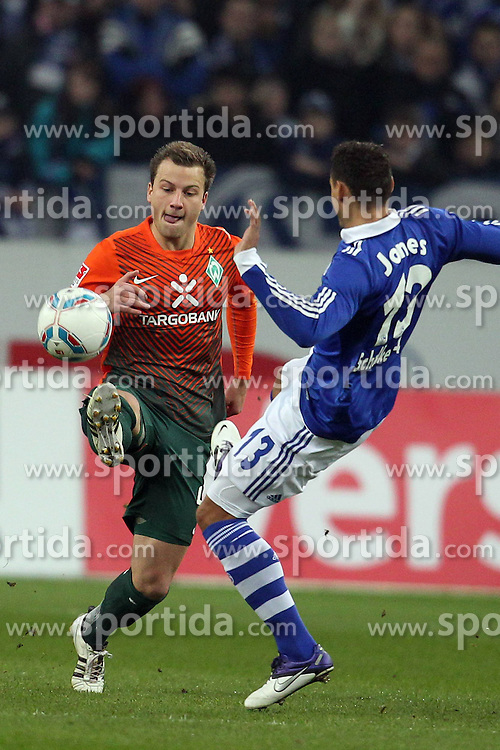 13.12.2011, Arena auf Schalke, Gelsenkirchen, GER, 1.FBL, Schalke 04 vs Werder Bremen, im BildPhilipp Bargfrede (Bremen #44) gegen Jermaine Jones (Schalke #13) // during the 1.FBL, Schalke 04 vs Werder Bremen on 2011/12/17, Arena auf Schalke, Gelsenkirchen, Germany. EXPA Pictures © 2011, PhotoCredit: EXPA/ nph/ Mueller..***** ATTENTION - OUT OF GER, CRO *****
