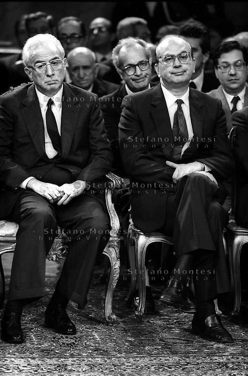 Roma  1986.Inaugurazione della Corte Costituzionale.Francesco Cossiga  Presidente della Repubblica italiana -Bettino Craxi.  Presidente del Consiglio