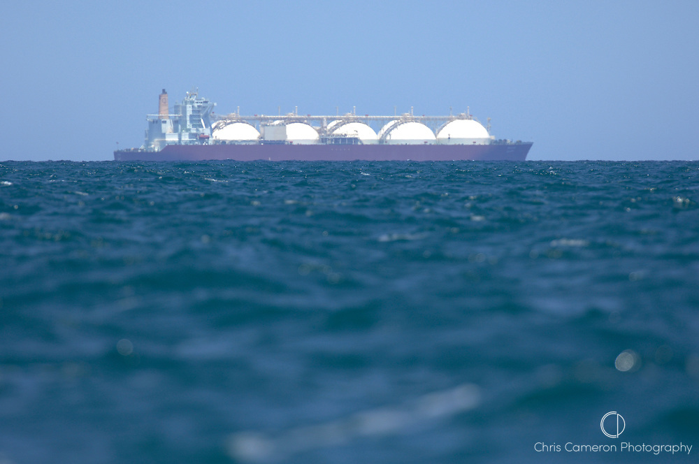 A natural gas ship underway on the mediteranean sea