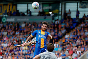 Shrewsbury Town midfielder Romain Vincelot (16) clears  during the EFL Sky Bet League 1 match between Shrewsbury Town and Portsmouth at Greenhous Meadow, Shrewsbury, England on 3 August 2019.