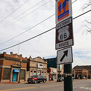 Historic U.S. Route 66 going through Joliet, Illinois. The Mother Road starts in Chicago traveling through 6 states and ending in Santa Monica, California.<br /> Photography by Jose More