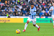 Elias Kachunga of Huddersfield Town (9) attacks with the ball during the Premier League match between Huddersfield Town and Arsenal at the John Smiths Stadium, Huddersfield, England on 9 February 2019.