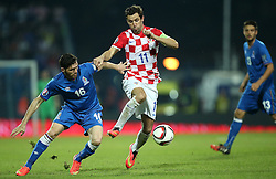 13.10.2014, Stadion Gradski vrt, Osijek, CRO, UEFA Euro Qualifikation, Kroatien vs Aserbaidschan, Gruppe H, im Bild Cavid Huseynov, Darijo Srna // during the UEFA EURO 2016 Qualifier group H match between Croatia and Azerbaijan at the Stadion Gradski vrt in Osijek, Croatia on 2014/10/13. EXPA Pictures © 2014, PhotoCredit: EXPA/ Pixsell/ Igor Kralj<br /> <br /> *****ATTENTION - for AUT, SLO, SUI, SWE, ITA, FRA only*****