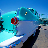 The sweet, sweet 1950s aqua-marine color schemes - this one with a white to help provide some contrast on a massive Pontiac Chieftain