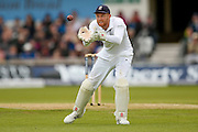 England & Yorkshire wicket keeper Jonny Bairstow  collects the ball during day 3 of the first Investec Test Series 2016 match between England and Sri Lanka at Headingly Stadium, Leeds, United Kingdom on 21 May 2016. Photo by Simon Davies.