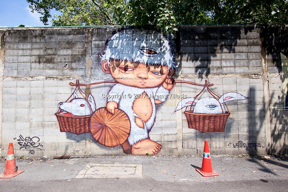 Street art by Alex Face, Charoen Krung 32
