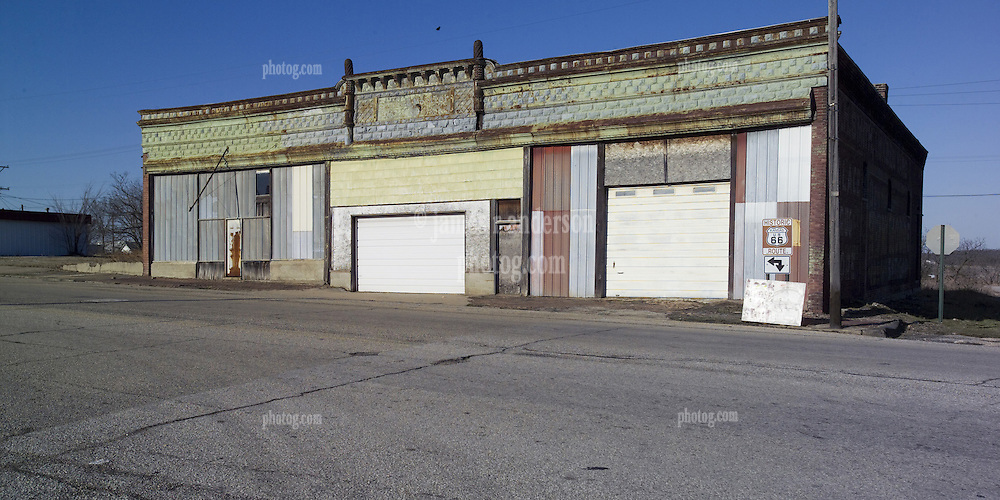 Front Street Garage, Galena, KS along historic US Route 66. A formally abandoned Auto Service Station on the corner of S. Main and Front Streets it is being restored to how it looked in 1947. (updated here July 2015)
