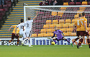 Motherwell&rsquo;s Scott McDonald slots the opener past Dundee keeper Scott Bain - Motherwell v Dundee - Ladbrokes Premiership at Fir Park<br /> <br /> <br />  - &copy; David Young - www.davidyoungphoto.co.uk - email: davidyoungphoto@gmail.com
