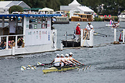 """Henley on Thames, United Kingdom, 4th July 2018, Wednesday, View,  """"Heat of the Fawley Challenge Cup"""", Claires Court, pass the Progress Board, first day of the annual,  """"Henley Royal Regatta"""", Henley Reach, River Thames, Thames Valley, England, © Peter SPURRIER,"""