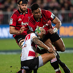 Seta Tamanivalu of the Crusaders with the ball during the 2018 Super Rugby final between the Crusaders and Lions at AMI Stadium in Christchurch, New Zealand on Sunday, 29 July 2018. Photo: Joe Johnson / lintottphoto.co.nz