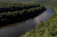 Town of Deerpark, New York - Rafts head down the Delaware River as seen from the Hawk's Nest on Route 97 on July 24, 2014. ©Tom Bushey / The Image Works