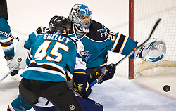 January 6, 2010; San Jose, CA, USA; San Jose Sharks goalie Evgeni Nabokov (20) watches as the puck falls from the crossbar during the second period against the St. Louis Blues at HP Pavilion. San Jose defeated St. Louis 2-1 in overtime. Mandatory Credit: Jason O. Watson / US PRESSWIRE