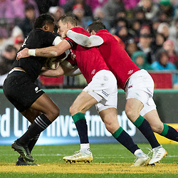 Waisake Naholo gang tackled during game 9 of the British and Irish Lions 2017 Tour of New Zealand, the second Test match between  The All Blacks and British and Irish Lions, Westpac Stadium, Wellington, Saturday 1st July 2017<br /> (Photo by Kevin Booth Steve Haag Sports)<br /> <br /> Images for social media must have consent from Steve Haag