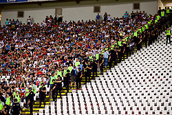 BELGRADE, SERBIA - Sunday, June 11, 2017: Serbia supporters and riot police during the 2018 FIFA World Cup Qualifying Group D match between Wales and Serbia at the Red Star Stadium. (Pic by David Rawcliffe/Propaganda)