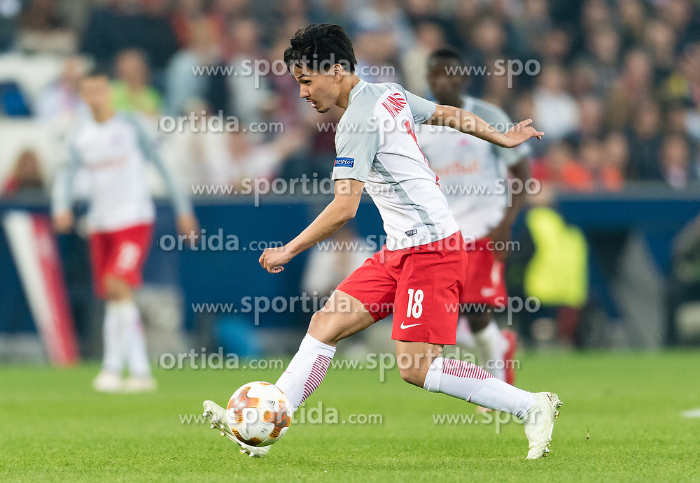 03.05.2018, Red Bull Arena, Salzburg, AUT, UEFA EL, FC Salzburg vs Olympique Marseille, Halbfinale, Rueckspiel, im Bild Takumi Minamino (FC Salzburg) // during the UEFA Europa League Semifinal, 2nd Leg Match between FC Salzburg and Olympique Marseille at the Red Bull Arena in Salzburg, Austria on 2018/05/03. EXPA Pictures © 2018, PhotoCredit: EXPA/ Stefan Adelsberger