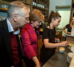 SNP leader Nicola Sturgeon joins candidate Jim Eadie on a visit to the Victor Hugo Deli in the battleground seat of Edinburgh South.<br /> <br /> © Dave Johnston/ EEm