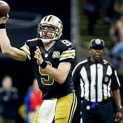 Dec 4, 2016; New Orleans, LA, USA; New Orleans Saints quarterback Drew Brees (9) against the Detroit Lions during the second quarter of a game at the Mercedes-Benz Superdome. Mandatory Credit: Derick E. Hingle-USA TODAY Sports