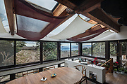 Oiso, Kanagawa prefecture, Japan, February 10 2017 - Keiji and Atsuko Suzuki's minka, traditional wooden house, is the last minka home in Oiso. The previous owner of the 3,000 sq. ft. house moved it from the shores of Lake Biwa, near Kyoto, 35 years ago.<br /> DIning room.