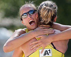 Jana Köhler and Anni Schumacher of Germany celebrate at A1 Beach Volleyball Grand Slam presented by ERGO tournament of Swatch FIVB World Tour 2012, on July 18, 2012 in Klagenfurt, Austria. (Photo by Matic Klansek Velej / Sportida)