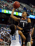 North Carolina beats Miami in the 2011 ACC Women's Basketball Tournament held at the Greensboro Coliseum in Greensboro, North Carolina.  (Photo by Mark W. Sutton)