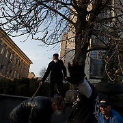 Pro-Russia activists fortify a newly build barricade set up around the Donbass Regional Government building in central Donetsk. The Ukrainian government in Kiev gave a 48 hour deadline for the activists to abandon the building.