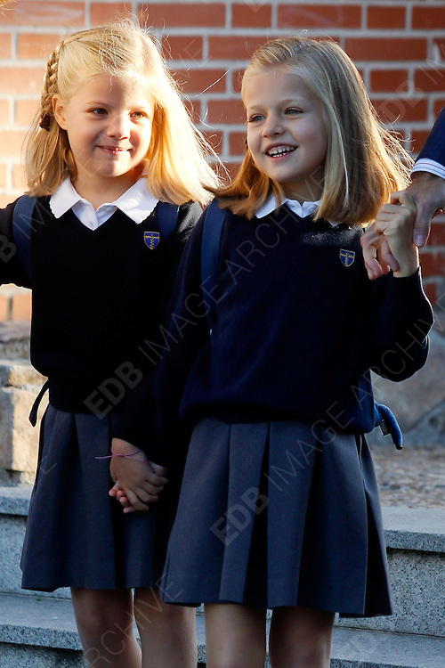 14.SEPTEMBER.2012. MADRID<br /> <br /> PRINCESS LETIZIA AND PRINCE FELIPE ATTENDING THE FIRST DAY OF SCHOOL OF PRINCESS SOFIA AND PRINCESS LEONOR AT LOS ROSALES SCHOOL IN MADRID, SPAIN.<br /> <br /> BYLINE: EDBIMAGEARCHIVE.CO.UK<br /> <br /> *THIS IMAGE IS STRICTLY FOR UK NEWSPAPERS AND MAGAZINES ONLY*<br /> *FOR WORLD WIDE SALES AND WEB USE PLEASE CONTACT EDBIMAGEARCHIVE - 0208 954 5968*