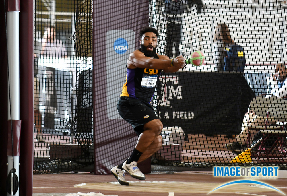 Mar 11, 2017; College Station, TX, USA; Johnnie Jackson of LSU wins the weight throw with a toss of 75-0 3/4 (22.88m) during the NCAA Indoor Track and Field Championships at the Rhonda and Frosty Gilliam Jr. Indoor Track Stadium at the McFerrin Athletic Center.